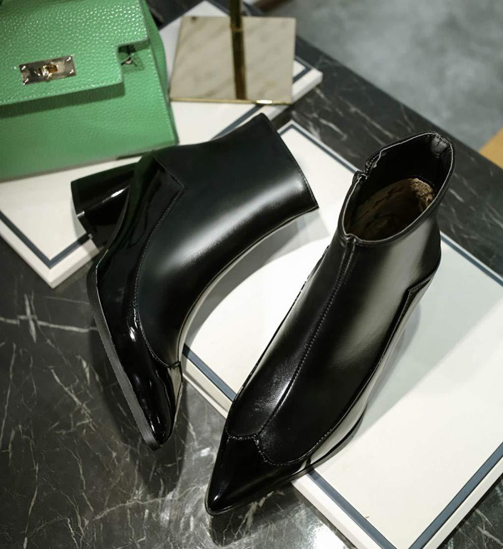 Frauen Martin Stiefel Stiefel Stiefel künstliche PU wies Kurze Stiefel mit hohem Absatz seitlichen Reißverschluss Stiefeletten im britischen Stil Herbst und Winter, schwarz,47EU 1a1f15