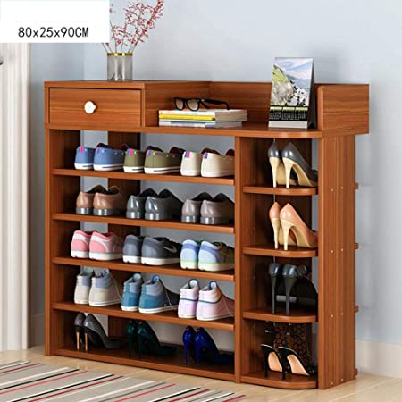 M-JH Zapatero Estante de Almacenamiento de Zapatos de Madera Maciza con cajones Organizador de Zapatos Estantes de Zapatos de pie Color : A, Tama/ño : 6-Tier