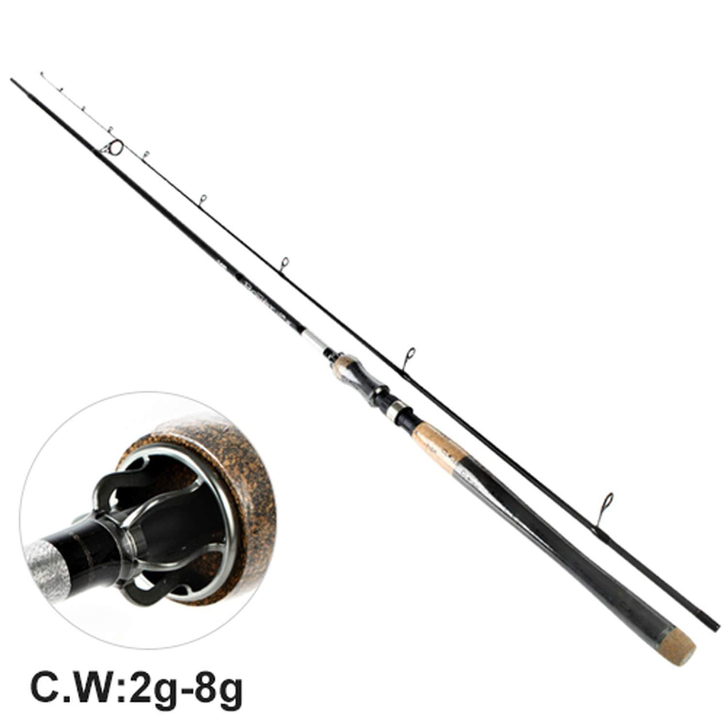 99% Carbon Lure Fishing Rod 5 colors 2.1M 2.4M 2.7M 2 Section Lure Weight 240g Spinning Fishing Rod Travel Rod,Black,2.1 m