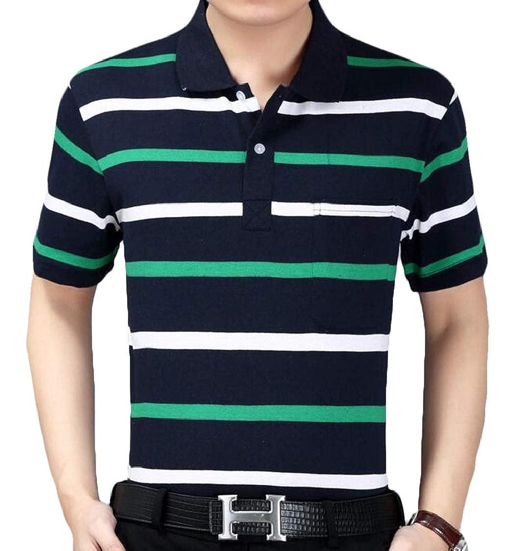 Nanquan Men Horizontal Stripes Pockets Oversized Formal Short Sleeve Polo Shirt