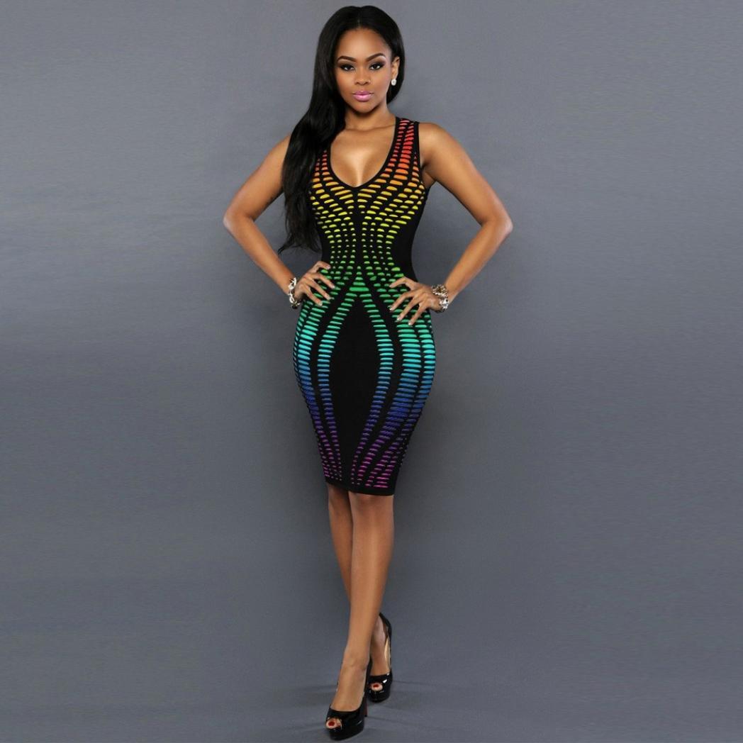 508eacfce4 Amazon.com  Women Dress Daoroka Ladies Sexy V Neck Bodycon Sleeveless Casual  Work Wear Cocktail Party Elegant Business Fashion Skirt (S