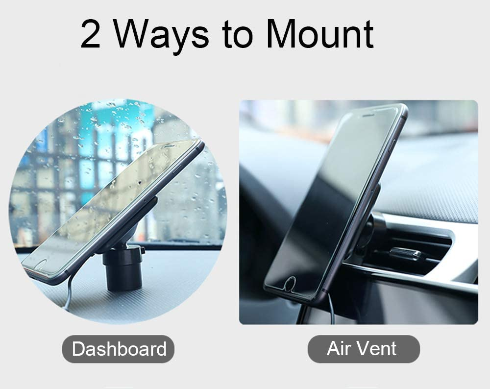 Fast Qi Wireless Car Mount Charger 7.5W Compatible for iPhones 5W for All Other Qi Devices Attom Tech Magnetic Wireless Charger Dashboard and Air Vent 10W for Samsung Phones