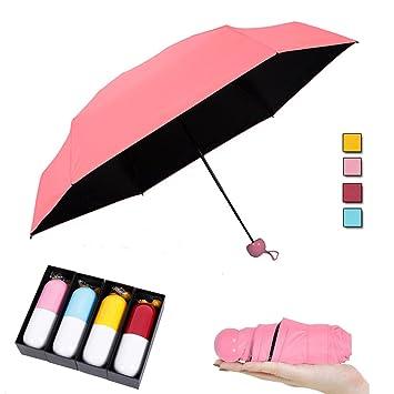 Mini Cápsula Paraguas Súper Ligero Pequeño Plegable Con Cápsula Caso Impermeable 5 Plegable Paraguas Bolsillo Parasol