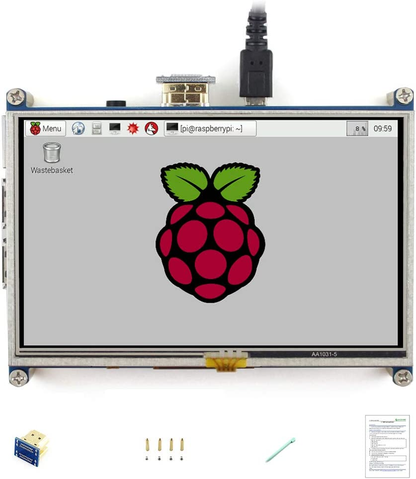 waveshare 5 Inch HDMI LCD 800X480 High Resolution for Raspberry Pi 2 Model B//Raspberry Pi Model B//B//A//Raspberry Pi 3 Model B//3 B+