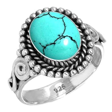 Solide 925 Sterling Silver Pierre gemme /À la main Bague For Femmes