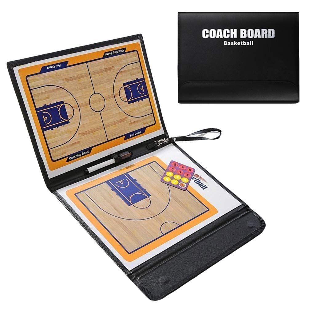 Firelong Basketball Coaching Board Magnetic Tactic Board Foldable Strategy Clipboard with a Write Wipe 2-in-1 Pen