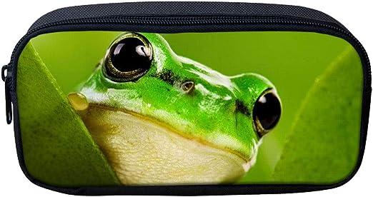 3d Frog Pencil Bags Kids Canvas Pen Case Zipper Soft Stationery Pouch Makeup Cosmetic Bag