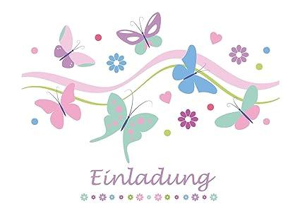10 tarjetas de invitación para cumpleaños infantiles, con diseño de mariposas, para niños o