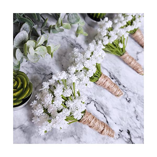 White SHACOS Set of 2 Baby/'s Breath Artificial Flowers Fake Gypsophila Babys Breath Bulk for Wedding Party Home Decoration