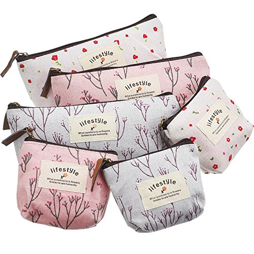 TecUnite 6 Pieces Pencil Bag Pen Case Flower Floral Canvas Pencil Pen Case Multi-functional Cosmetic Makeup Bag Set Coin Purse