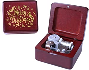 Sinzyo Silent Night Music Box Red Vintage Wood Carved Mechanism Musical Box Wind Up Music Box Gift for Birthday,Valentine's Day,Best Gift for Kids,Friends,Melody (Wine red Box-Silent Night A)