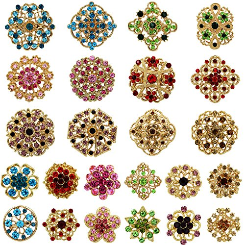 Mutian Fashion Lot 24pc Mixed Color Rhinestone Crystal Flower Brooches ()