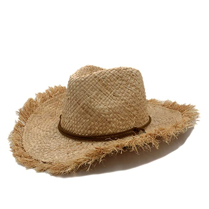 77098ac636e Men Jazz hat Cowboys Straw Hats Best Mens Western Nature Raffia Straw Hat  Women Cowgirls roll-up Summer Sun Caps Tan at Amazon Men s Clothing store