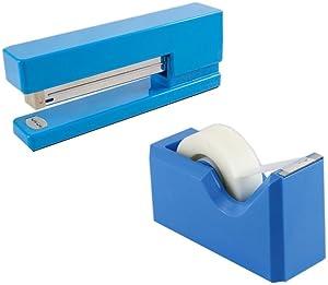 JAM PAPER Office & Desk Sets - 1 Stapler & 1 Tape Dispenser - Blue - 2/Pack
