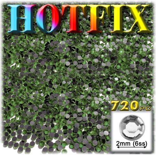 工芸のアウトレットDMCアイロンホットフィックスで優れた品質ガラス720-pieceラウンドラインストーン装飾、2mm、オリーブグリーン