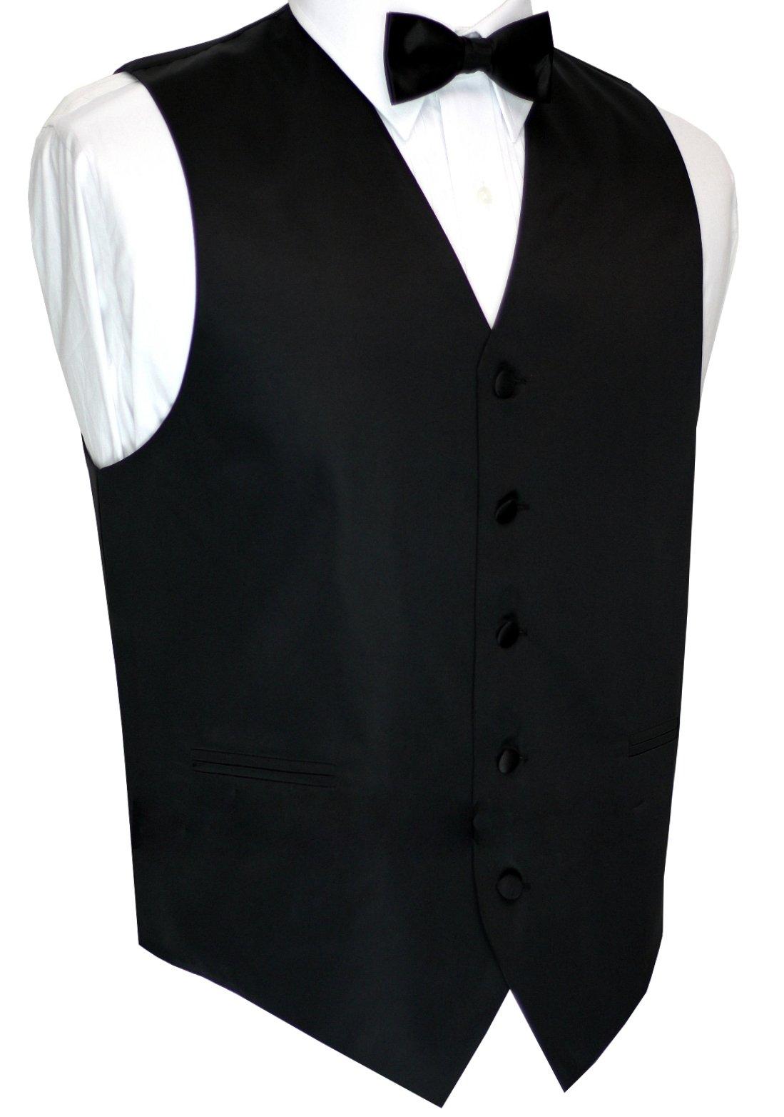 Best Tuxedo Now in Long length Italian Design, Men's Tuxedo Vest, Bow-Tie & Hankie Set in Black - 3XL/Long