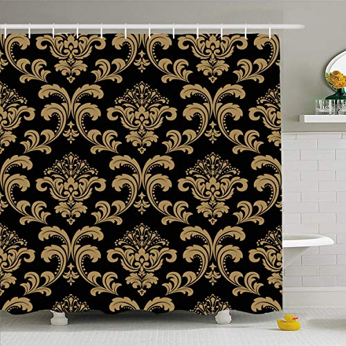Ahawoso Shower Curtain 66x72 Inches Old Gold Floral Pattern Baroque Damask Richly Abstract Black Dark Venetian Vintage Antique Graphic Waterproof Polyester Fabric Set with Hooks ()