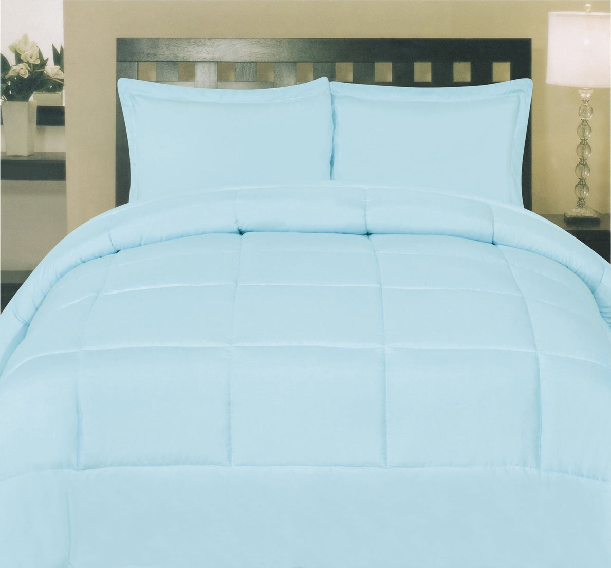 Sweet Home Collection White Goose Down Alternative Comforter, Aqua, Twin