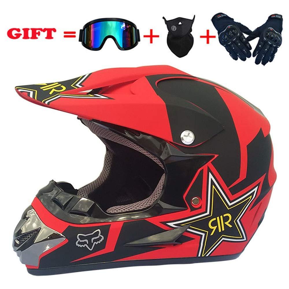 モトクロスデュアルスポーツヘルメット、防風D.O.T認定アダルトオートバイグローブゴーグルマスクコンボフルフェイスヘルメット4個セット、星、XL、ピンク、L,赤、大