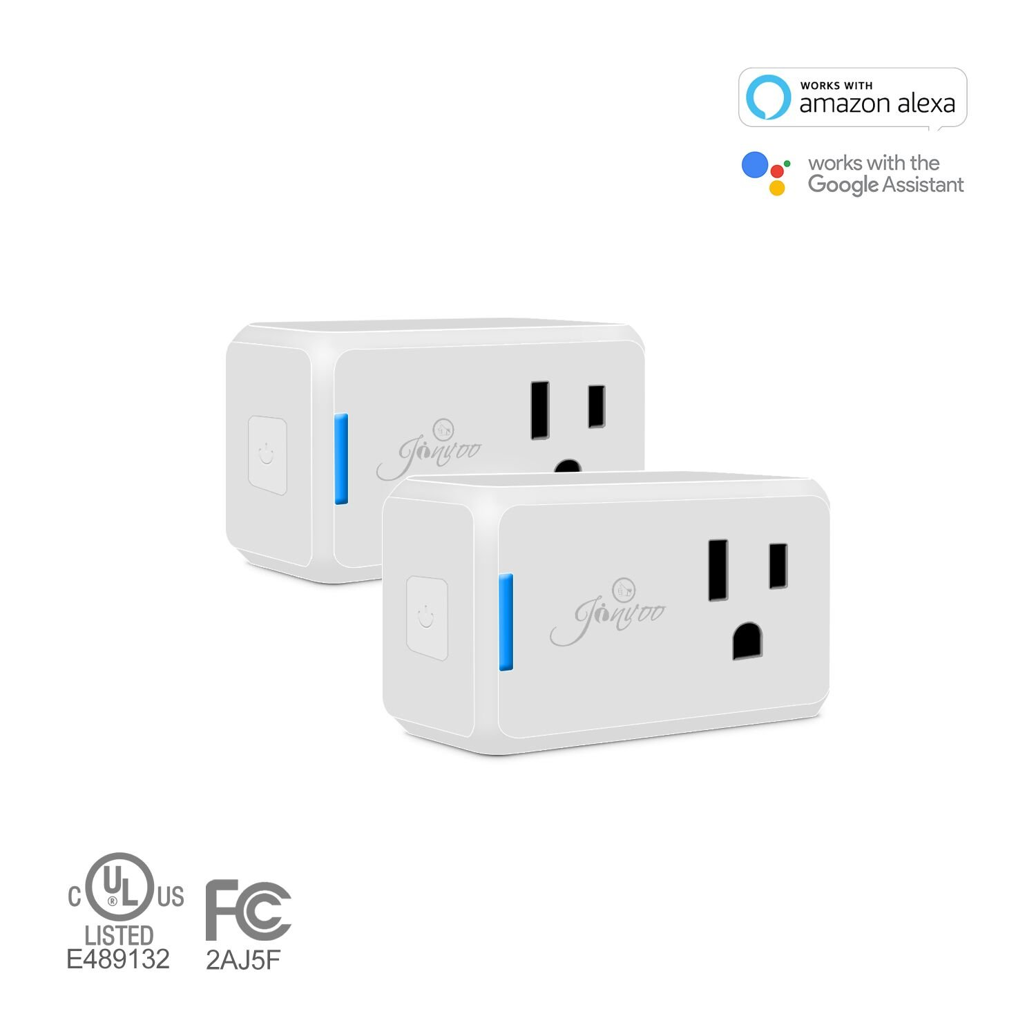 Jinvoo Wi-Fi Smart Plug Wireless Mini Outlet with Schedule,2 pack,Remote Control,Works with Alexa