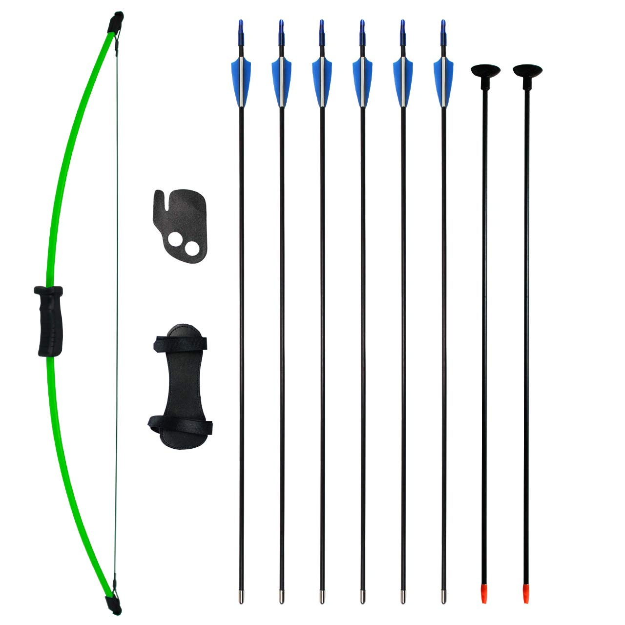 SinoArt Bow and Arrow Set for Teens Outdoor Sports Game Hunting Gift Archery Bow Set with 8 Arrows 16 Lb (Green)