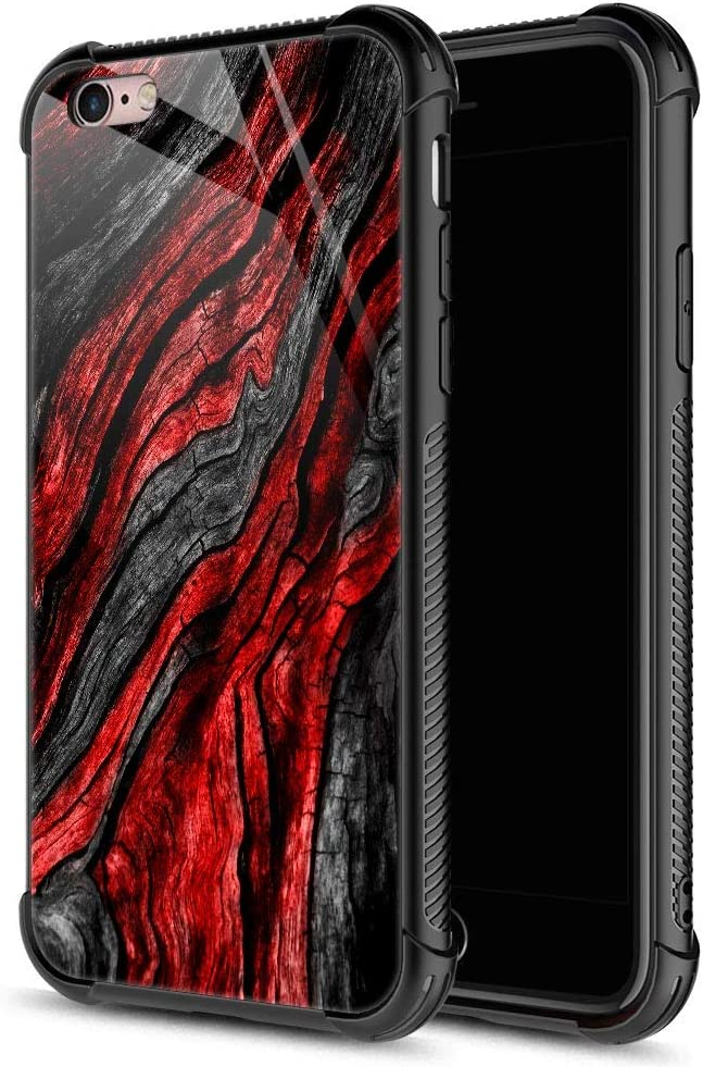 iPhone 6S Case,9H Tempered Glass iPhone 6 Cases for Boys Men, Black Red Wood Grain Pattern Design Shockproof Anti-Scratch Case for Apple iPhone 6/6S 4.7 inch Wood Grain