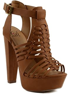 252a3659d135 Delicious Freedom Womens High Platform Stacked Heel Sandal with Strap