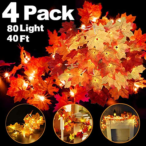 4 Pack Thanksgiving Fall Decorations Leaf Garland String Lights for Indoor Outdoor 10 ft 20 LED Maple Leaves Light 3 AA Battery Operated Decor Home Party Fireplace Harvest (4Pack Lighted Fall Garland) (Outdoor Fall Party)