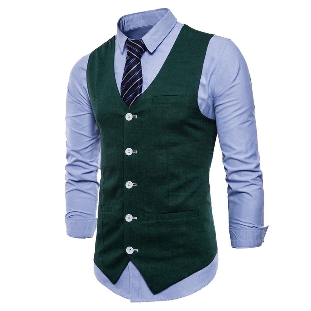 Allthemen Mens V-Neck Sleeveless Blazer Slim Fitted Waistcoat Solid Vest for Spring Summer