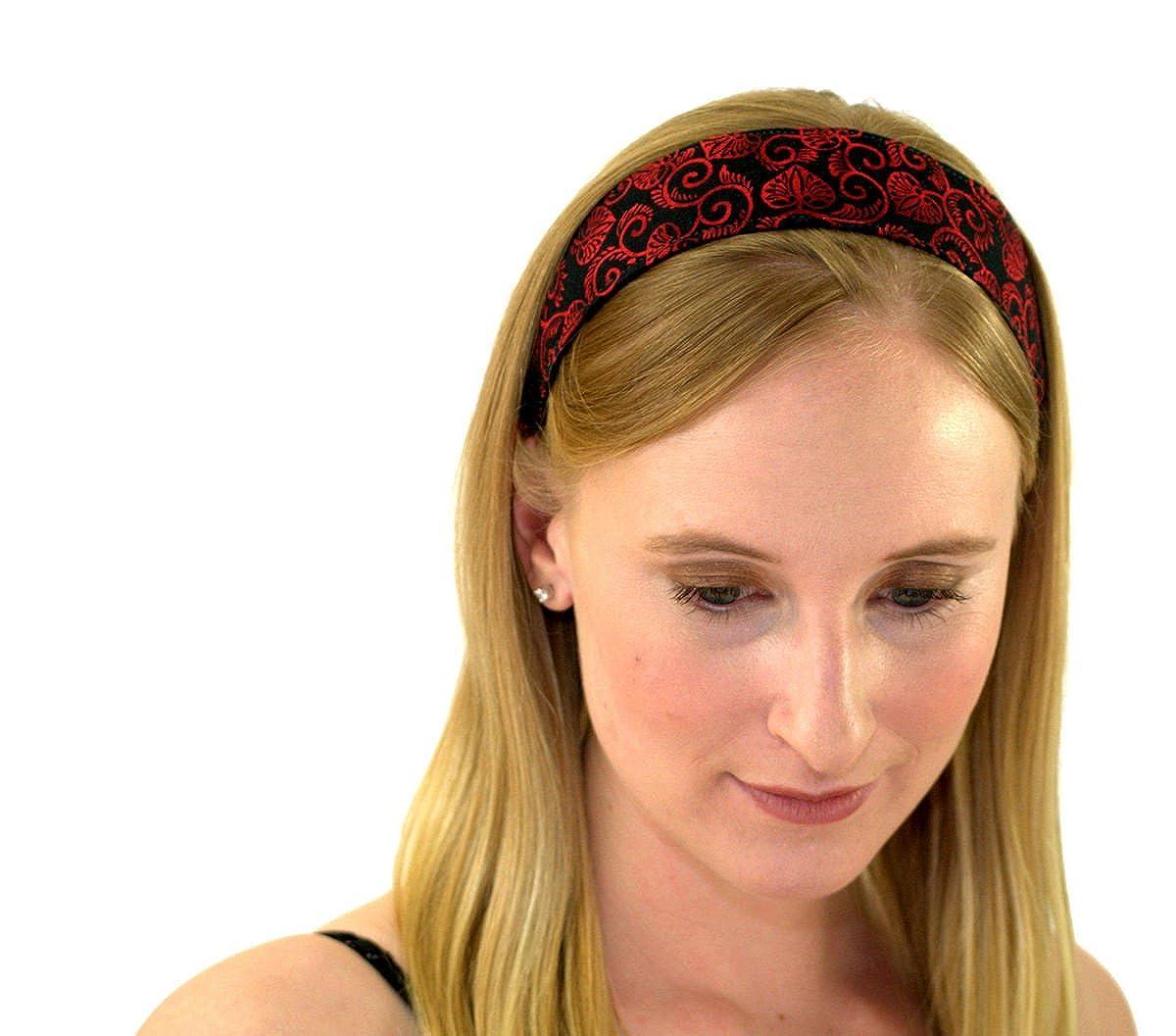 Skinny Headband Delicate Red Leaves OverブラックソフトBoho Running Headwrap Womens B0037USPW0