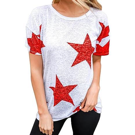 LuckyGirls Camisetas Mujer Manga Corta Originales Estrellas Estampado Casual Blusas Remeras Camisas (S, Rojo