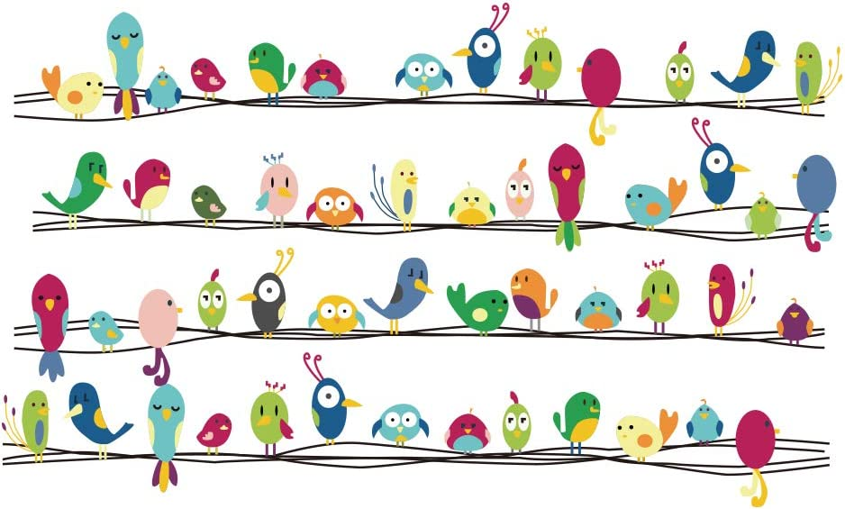 decalmile Vinilos Vistoso Lindo Animales Pájaros Pegatinas Pared Desmontable Decorativos Adhesivos para Niños Habitación Infantil