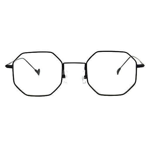 c7aeef1c6b37 Mens Vintage Style Octagon Metal Wire Rim Snug Rectangular Sunglasses Black  Clear