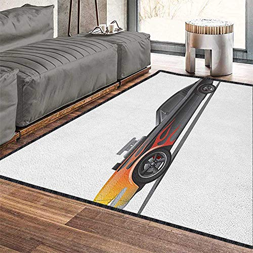"Cars Non Slip Absorbent Carpet,Custom Design Muscle Car with Supercharger and Flames Roadster Retro Styled Decor Carpet Popular Colors Charcoal Grey Orange 79""x118"""
