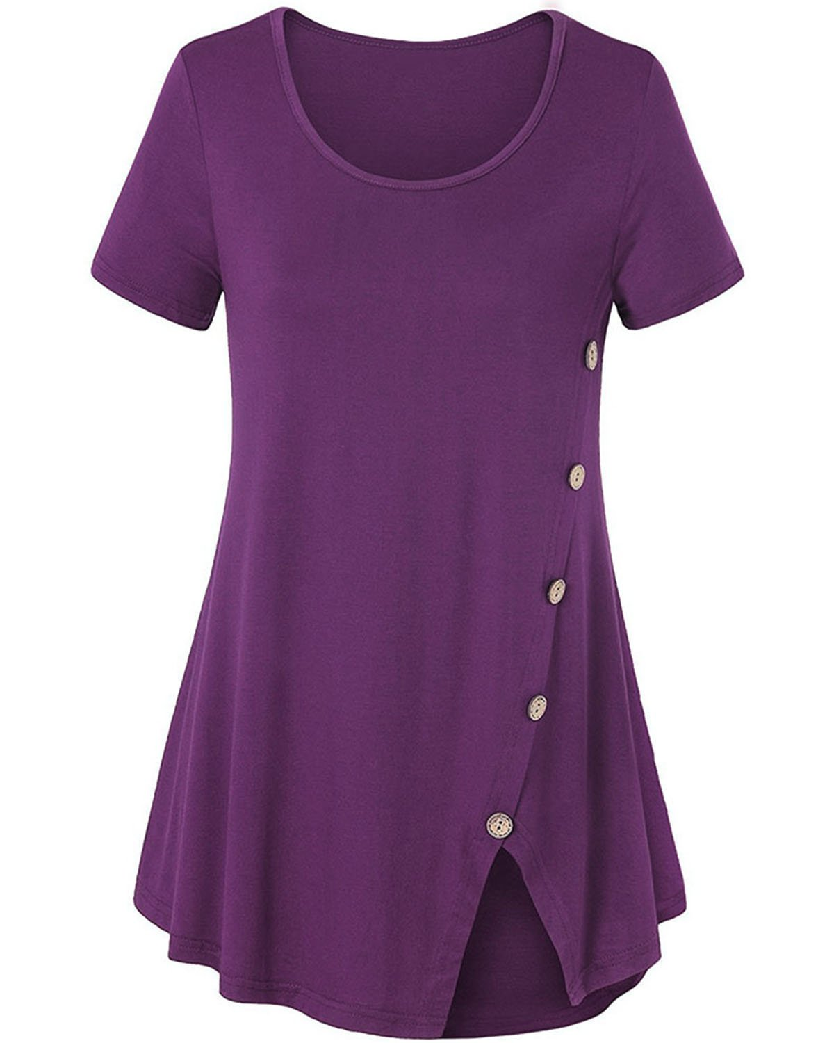 GAMISS Women's Short Sleeve Tunic Tops Split Hemline Casual Loose Blouse T-Shirts Top with Buttons Purple XL