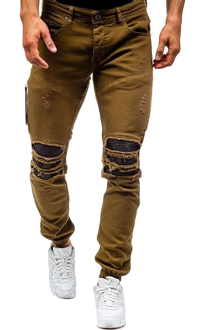Brown ZXFHZS-CA Mens Destroyed Solid Straight Slim Jeans Hipster Denim Pants