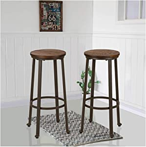 Glitzhome Rustic Steel Bar Stool Round Wood Top Dining Room Pub Height Chairs Set of 2