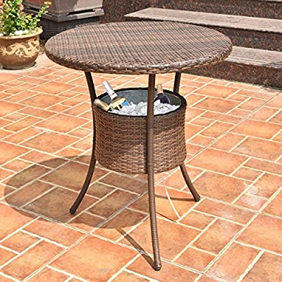 "31.5"" Outdoor Rattan Patio Bar Table with Ice Cooler Bucket for your Drinks or Any Beverages, Weather Resistant, High Temperature Tolerant and UV Resistant"