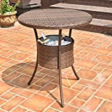 31.5'' Outdoor Rattan Patio Bar Table with Ice Cooler Bucket for your Drinks or Any Beverages, Weather Resistant, High Temperature Tolerant and UV Resistant