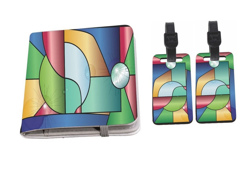 Rikki Knight Stained Glass Window with Reflections Passport Holder + Luggage Identifier Tags