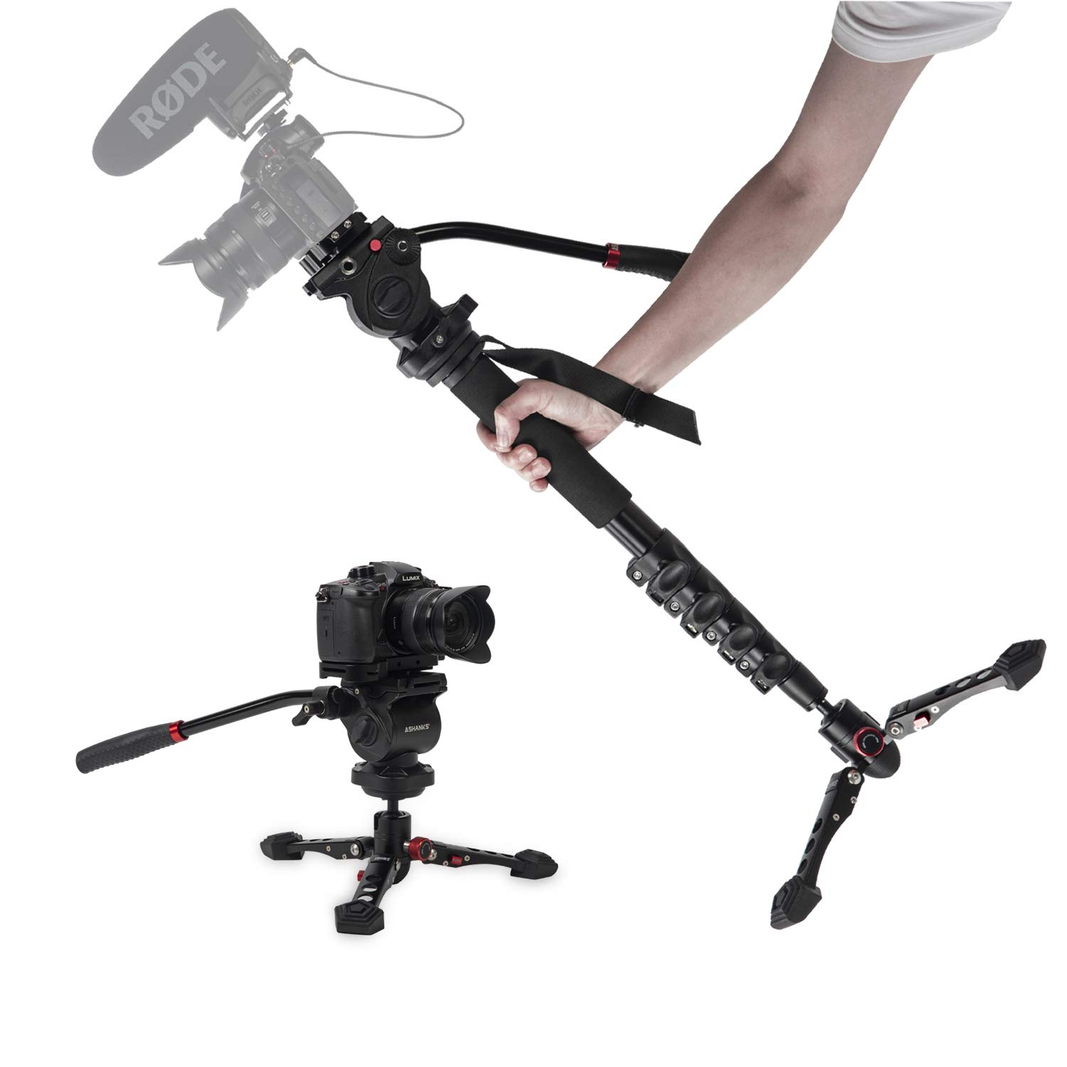 Camera Monopod, ASHANKS 65'' Professional Telescopic Video Monopod with Tripod Base and 360 Degree Panoramic Fluid Head, QR Plate Max Load 11lbs for DSLR Camera Camcorders by ASHANKS