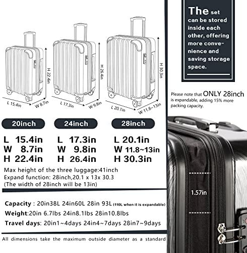 "Coolife Luggage Expandable(simplest 28"") Suitcase PC+ABS Spinner 20in 24in 28in Carry on (inexperienced new, M(24in))"