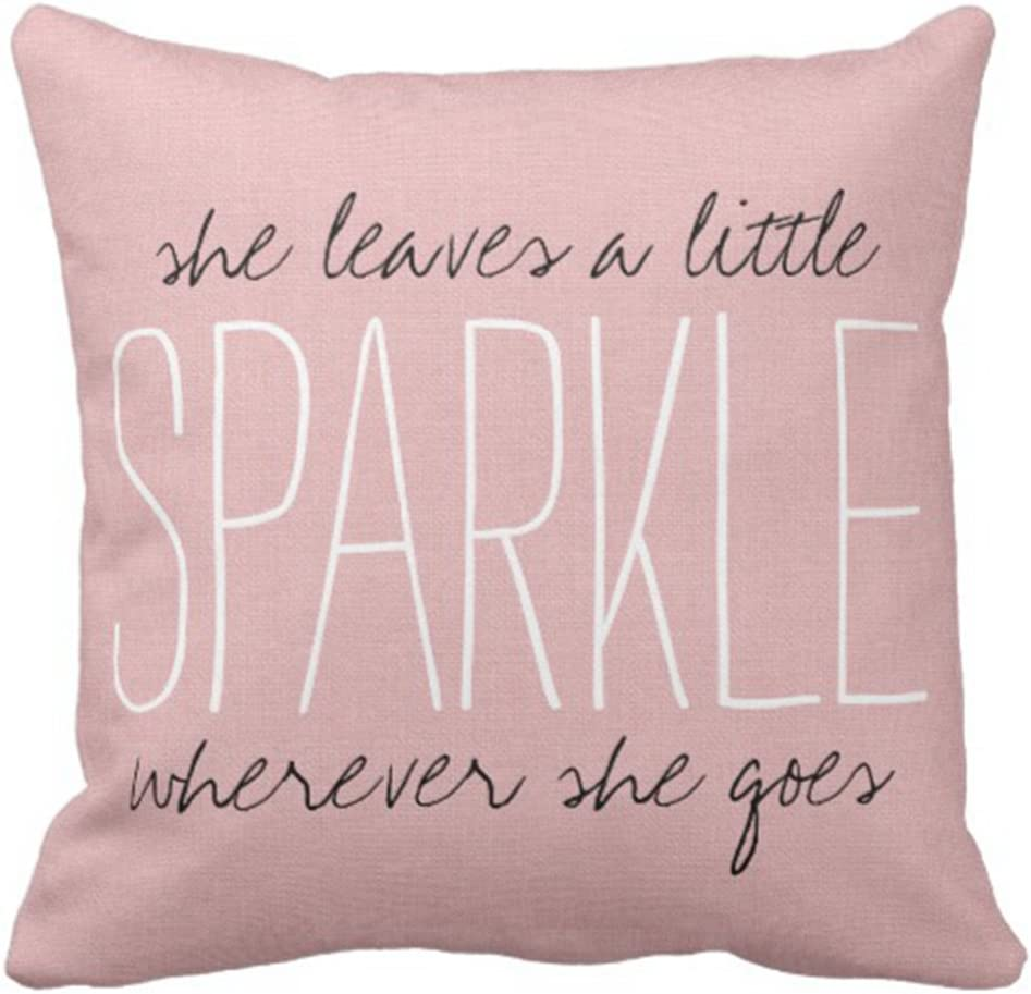 Emvency Throw Pillow Cover Cute Burlap Pink Sparkle Quote Monogram Decorative Pillow Case Home Decor Square 16 x 16 Inch Pillowcase