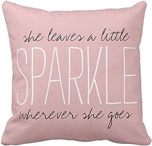 Emvency Throw Pillow Cover Cute Burlap Pink Sparkle Quote Monogram Decorative Pillow Case Home Decor Square 16 x 16 Inch Pillowcase