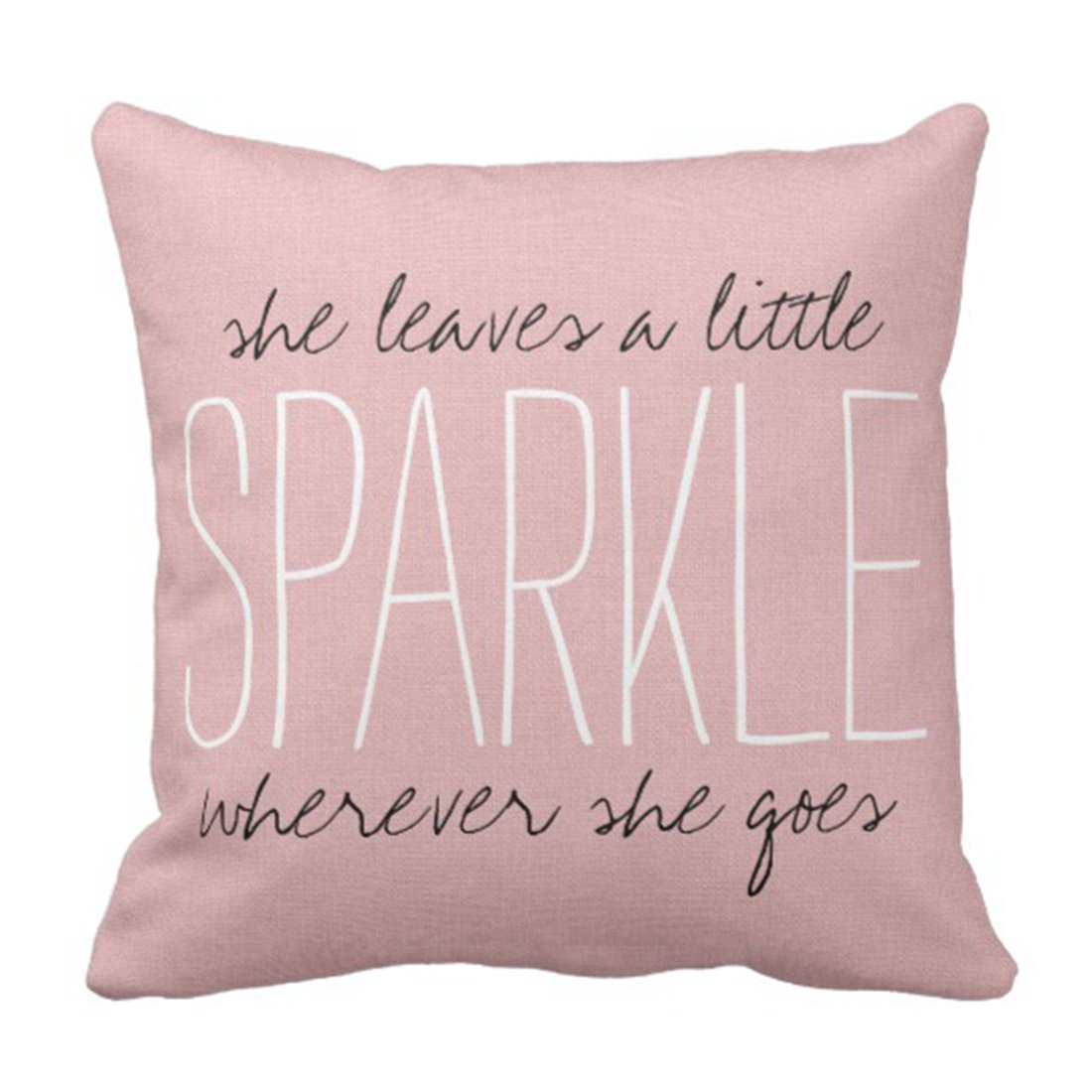 Emvency Throw Pillow Cover Rustic Pink Sparkle Decorative Pillow Case Girly Home Decor Square 18 x 18 Inch Cushion Pillowcase