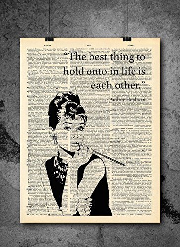 Hepburn Flat - Audrey Hepburn Best Thing In Life - Inspirational Quote - Vintage Dictionary Print 8x10 inch Home Vintage Art Abstract Prints Wall Art for Home Decor Wall Decorations Ready-to-Frame