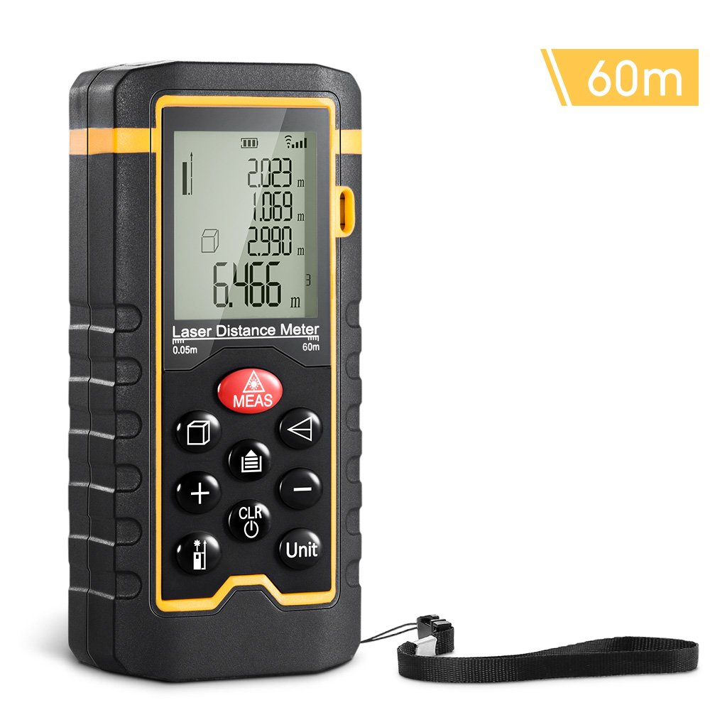 SYNERKY Rangefinder Laser Measurement Range 0.05-60m Handheld Laser Distance Meter with Backlight LCD Screen Single-Distance Measurement/Continuous Measurement Area