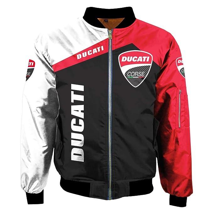 Hombres Invierno Exterior Impresión Digital Ducati Chaqueta ...
