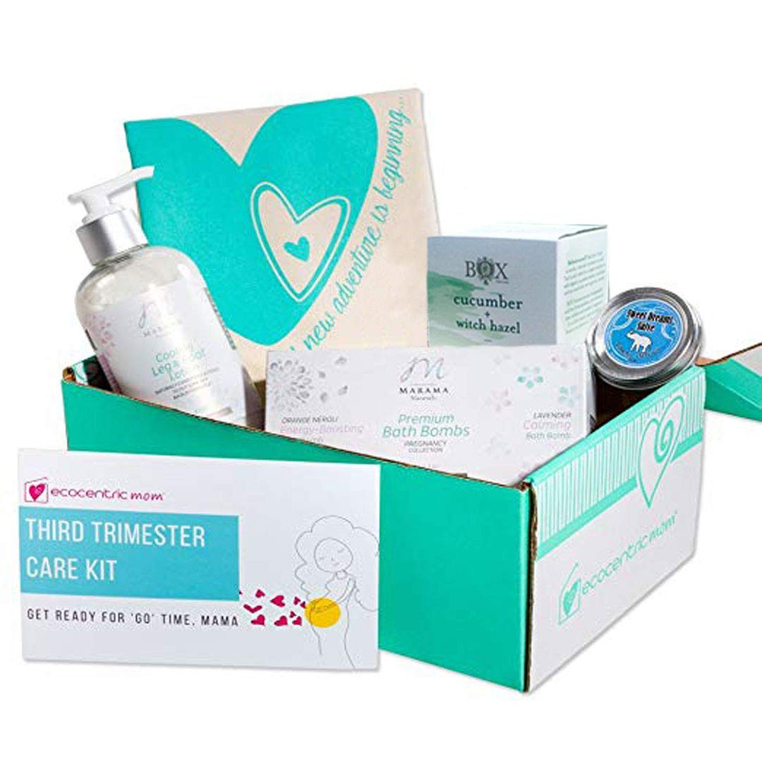 Ecocentric Mom Pregnancy Gift Box - Third Trimester Maternity Gifts With Pregnancy Bath Bombs, Sleep Slave Oil, Leg & Foot Cream, Tote Bag and Nipple Cream by Ecocentric Mom