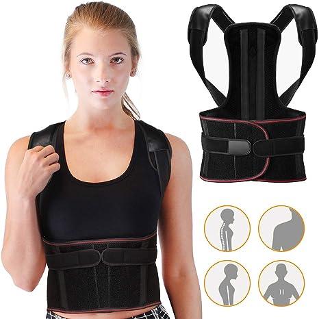 Wesho Posture Corrector, Adjustable Spine and Back Support for Men and Women Lumbar Shoulder Support Belt Strap, Improve Bad Posture, Convenient for